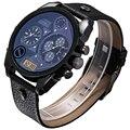Hombres del reloj de lujo famosa marca mens relojes correa de cuero de cuarzo cagarny zonas dual time reloj militar relogio masculino d6822