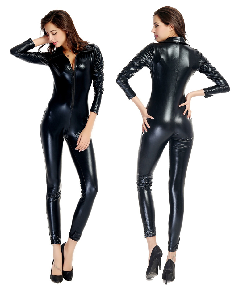 Catwomen Faux Leather latex Zentai Catsuit Smooth Wetlook Jumpsuit Front Zipper Elastic PU Full Bodysuit Playsuit catwoman adult