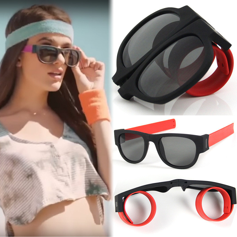 Clap ring Bracelet folding sunglasses Women Drive sport glasses men shade Fashion brand design