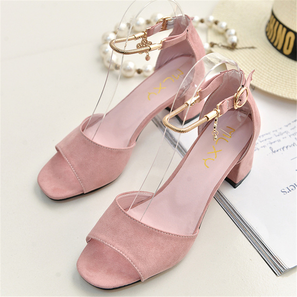 Women Sexy Party Open Toe Square Heels Pumps Bridal Flock High Heels Shoes Pumps Summer Wedding Pink Women Sandals Zapatos Mujer