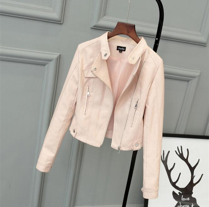 Free Shipping New Fashion Pink Girl Jacket Jacket Short PU Leather Jacket Student Female Jacket 2018 New
