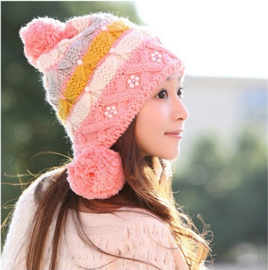 (1Piece) New women knitting hats earflap fashion pearl beanies for women Free shipping