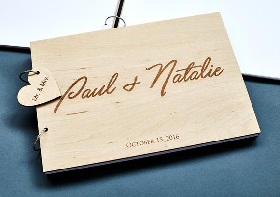 Rustic Wedding Guestbook With Name And Wedding Date,Personalized Wedding Guest Book Ideas,Engraved Photo Album.Gift for Couple image