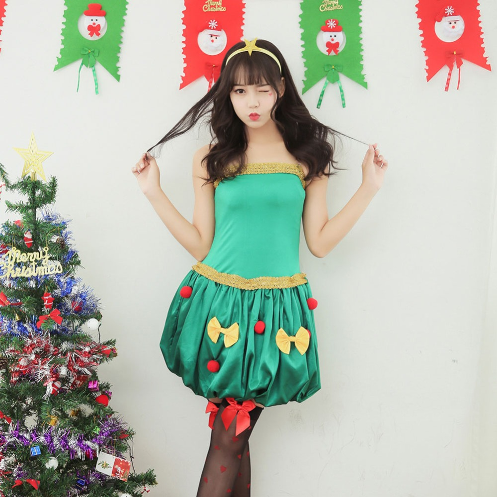 25de185f2fd Hot Sexy Christmas costumes Women Ball Gown Dress Green Christmas Tree Role  Cosplay Fancy Party Carnival Costumes LB