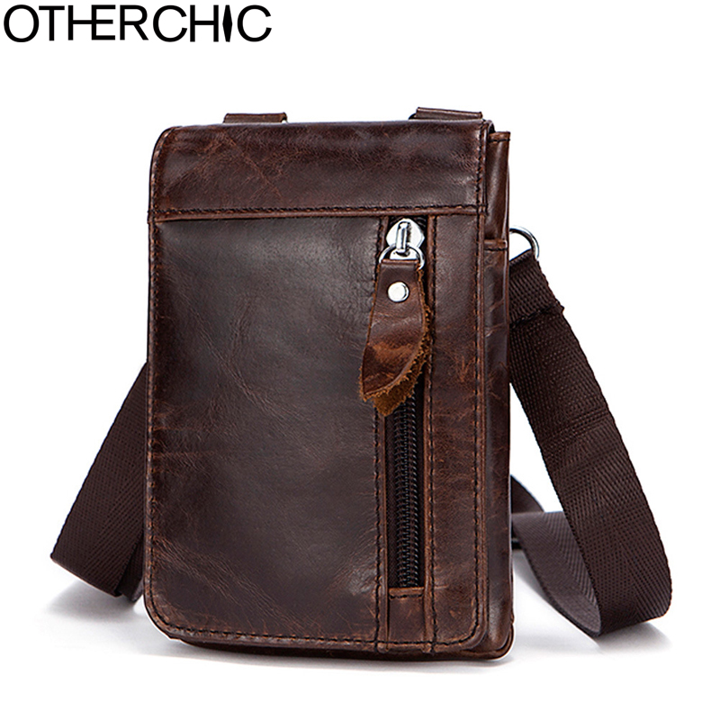 OTHERCHIC Genuine Leather Small Bags Men Leather Belt Waist Pack Messenger Bags Phone Pouch Fanny Pack Crossbody Bag L-7N07-41 otherchic 2017 genuine leather men bag high quality messenger bags small travel brown crossbody shoulder bag for men l 7n07 37