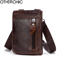 OTHERCHIC Genuine Leather Small Bags Men Leather Belt Waist Pack Messenger Bags Phone Pouch Fanny Pack Crossbody Bag L 7N07 41