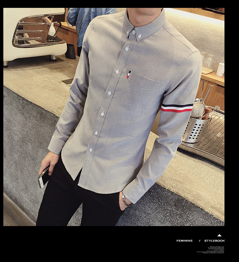 2017 New autumn men's casual tops brand shirt striped Strip decorate cotton men fashion solid color long sleeved Shirts M-XXXL 87