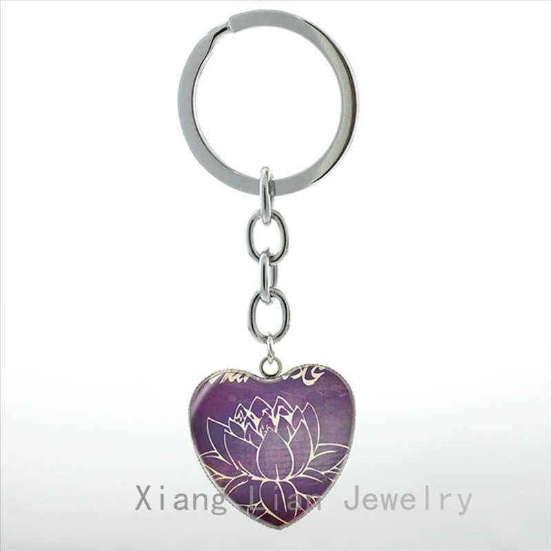 Vintage Om India keychain Indian Yoga jewelry Buddhism Zen Meditation Mandala Namaste  women key chain ring jewellery HP138