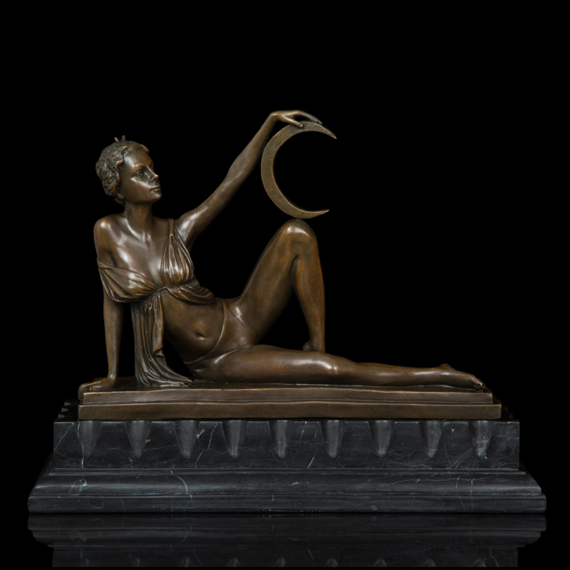 Bronze Statue Sexy Belle Figurine Art Handicraft for Home Decor sculpture luna goddess of moon DS-464