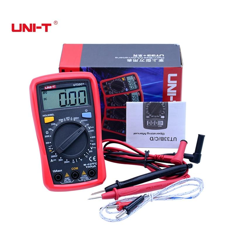 New arrival UNI-T UT33C+ digital Multimeter LCD backlight manual range AC DC voltage AC current resistance +Temperature tester