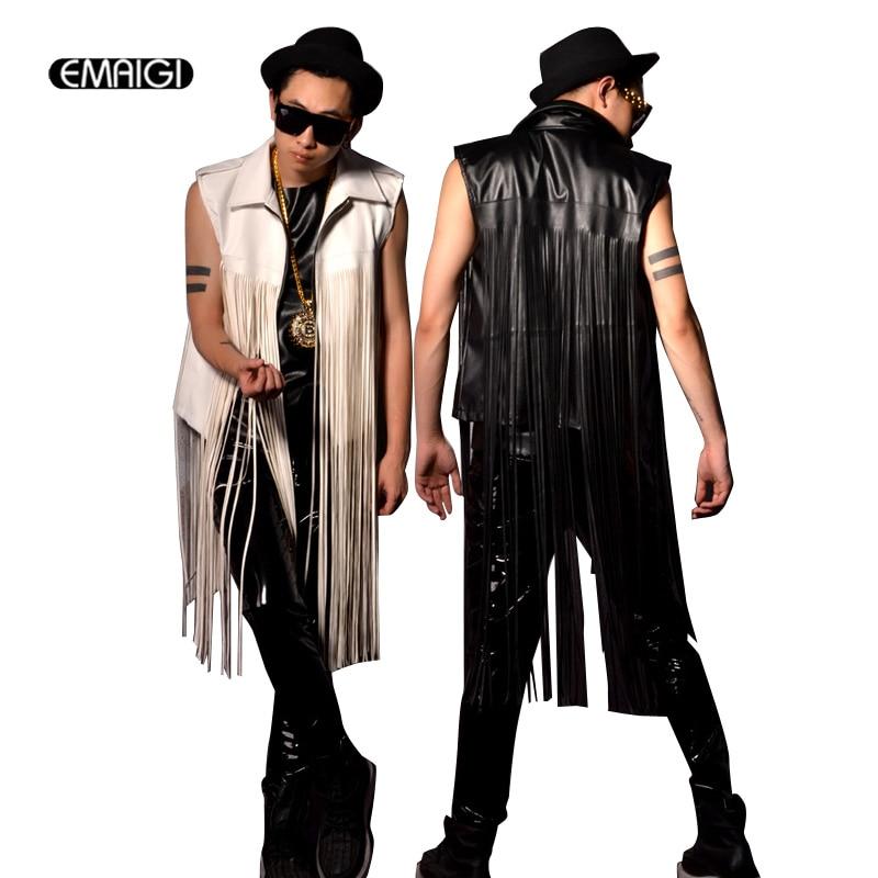 Long Tassel Leather Motorcycle Vest Jacket Men Fashion Sleeveless Waistcoat Stage Show Coat Male Singer Star Stage Costumes