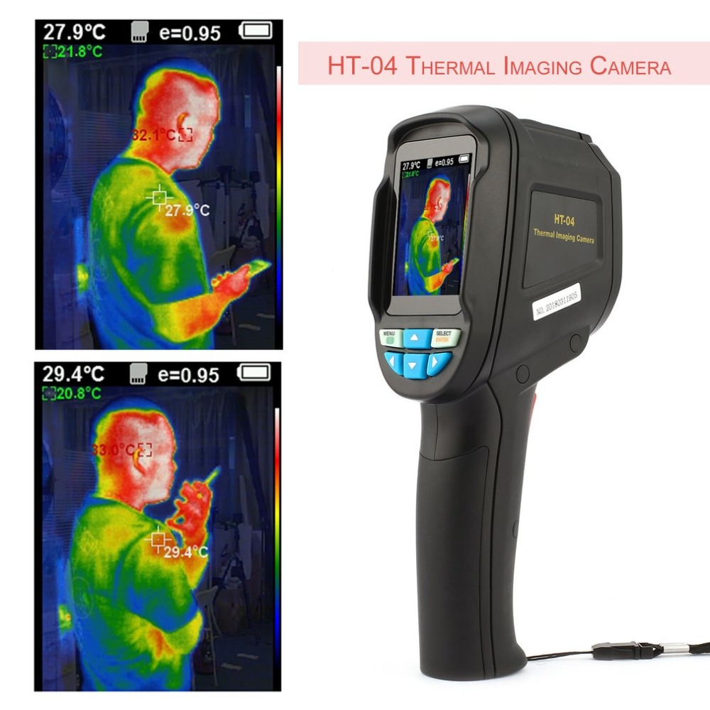 HT-04 Flir Thermal Imaging Camera High Sensitive Sensor HD Color Screen IR Thermal Imager Freeshopping Infrared Imaging Device portable handheld hd thermal imaging camera infrared imaging sensor visible light camera built in chargeable battery