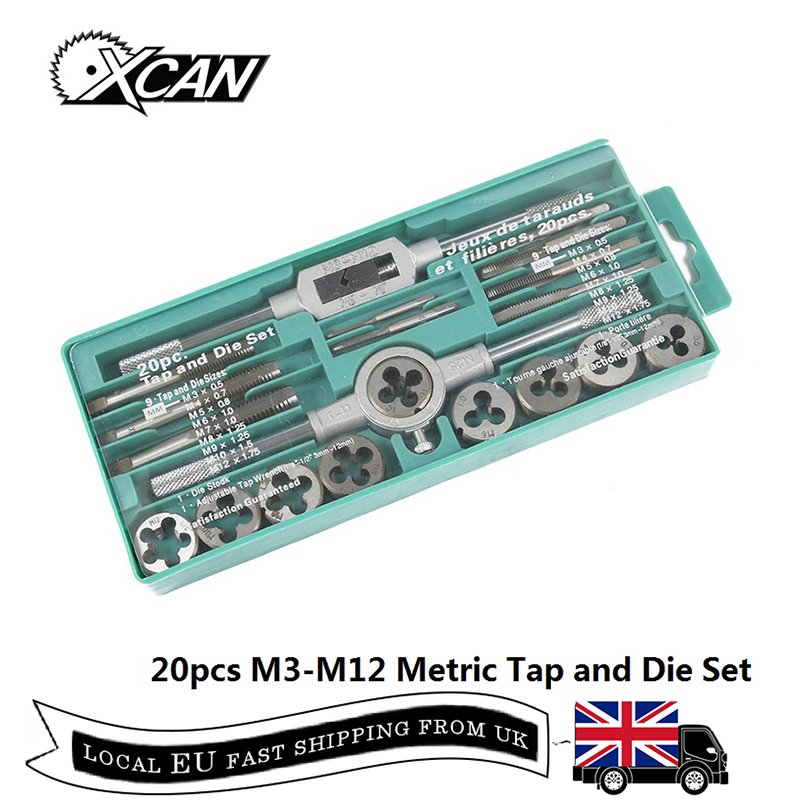 XCAN 20pcs M3-M12 Metric Thread Tap and Die Set Alloy Steel Screw Thread Plug Tap Hand Screw TapsXCAN 20pcs M3-M12 Metric Thread Tap and Die Set Alloy Steel Screw Thread Plug Tap Hand Screw Taps