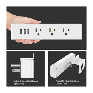 Image 3 - NTONPOWER MNC Wall Mounted USB Power Socket US Standard Electrical Plug 3 AC Outlet 3 USB Smart Charging Ports with Phone Holder