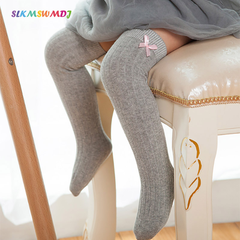 SLKMSWMDJ 6 Colors Autumn And Winter Cotton Girls Baby Stockings Solid Color Bow Children Stockings For 1-10 Years Old 1 Pair