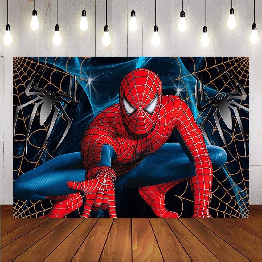 Фон для фотосъемки с человеком пауком, Супермен, мальчик, детский фон для дня рождения, баннер, реквизит для фотостудии, фон для фотографии|Фон| | - AliExpress