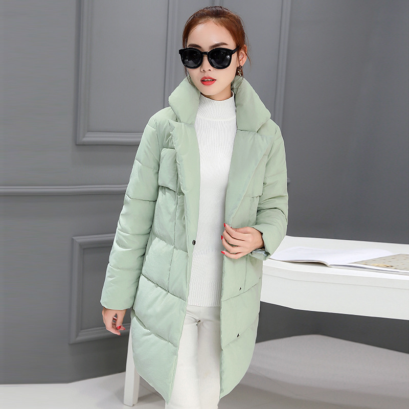 2016 autumn and winter new women's cocoon coat Korean Slim Down Mianao Mianjin women in the long paragraph