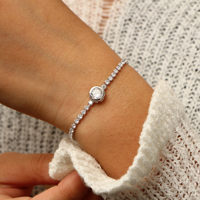 17KM New Round Tennis For Women Rose Gold Silver Color Cubic Zirconia Charm Bracelets 1