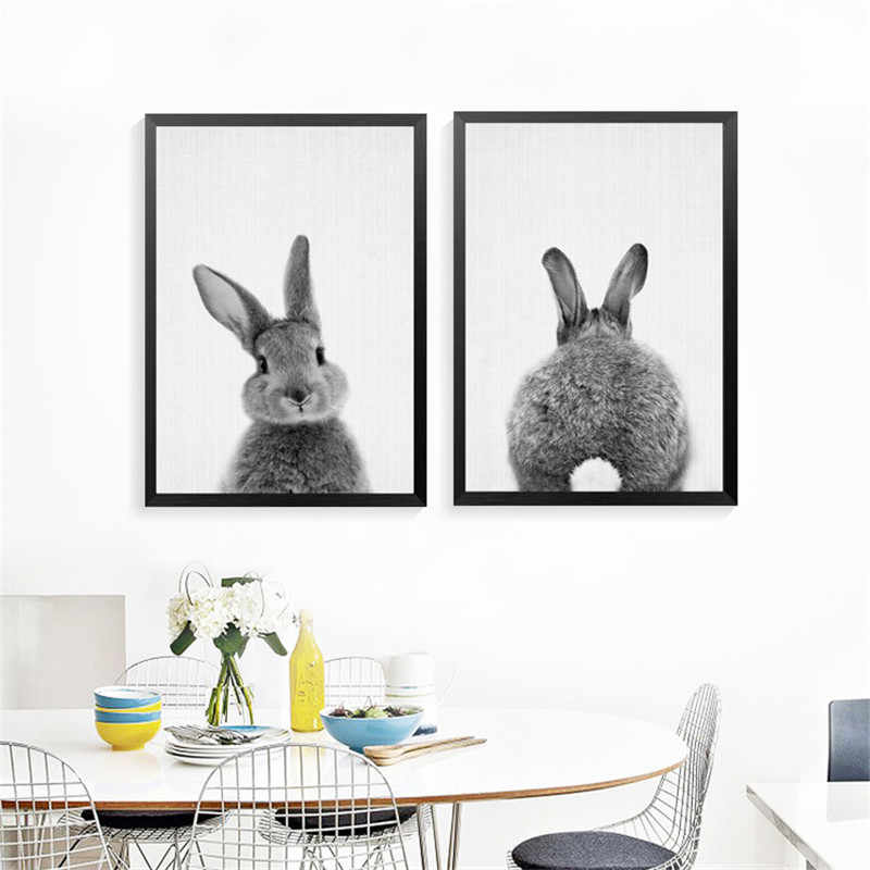 Black White Rabbit Canvas Painting Nursery Wall Art Print Animal Poster and Print Nordic Picture for Kids HD2314