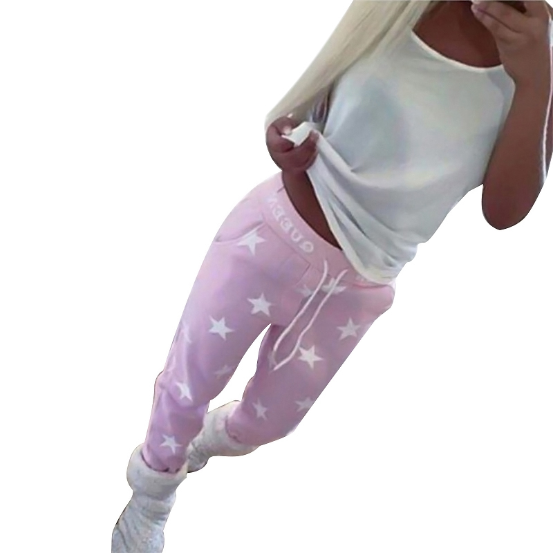 2017 Winter Women Pants Star Printed Lady Bottoms Waistband Tracksuit Drawstring Pants Pink Grey Trousers