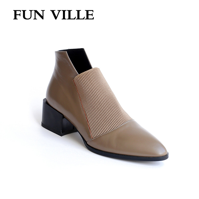 FUN VILLE New Fashion Women Ankle boots Genuine Leather Autumn Winter Chelsea Boots Woman Sexy Ladies