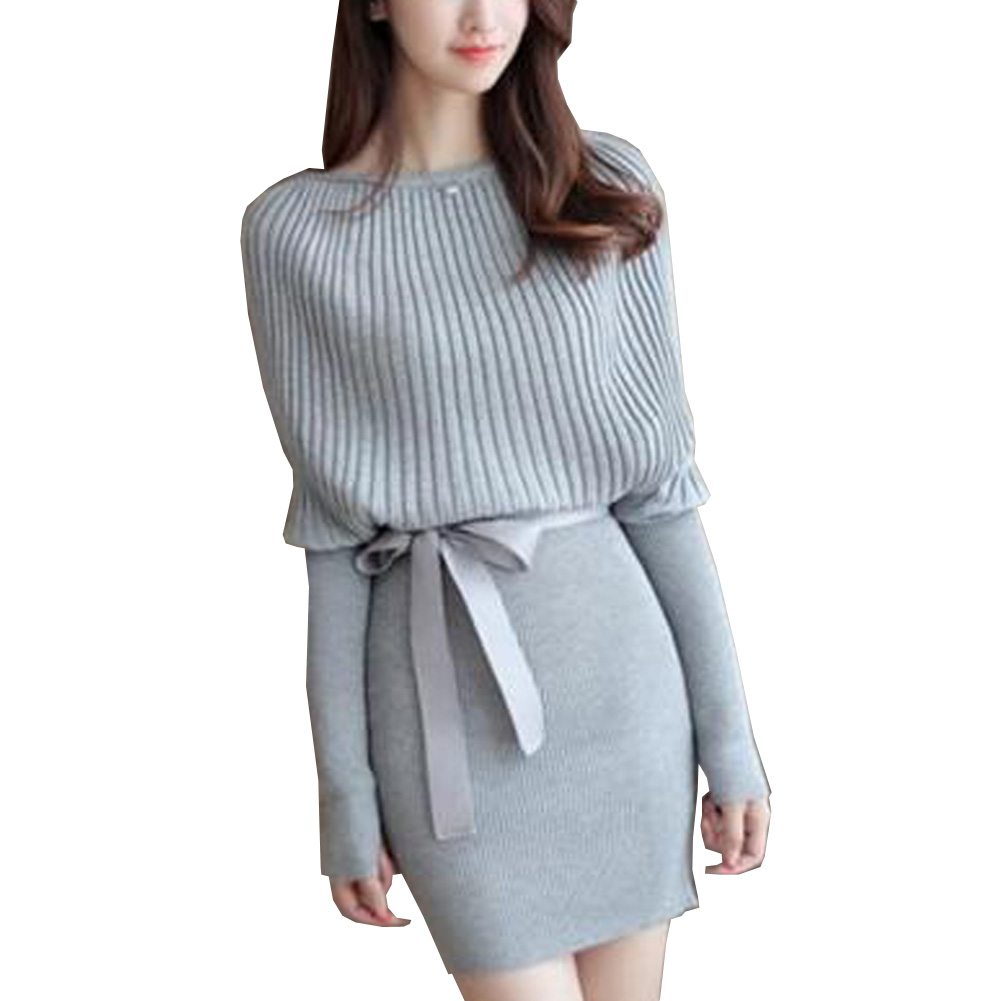 Women Sweater Dress Slim Batwing Sleeve Bodycon Dresses Elastic Dress Brief Black Knitted Dress vestidos with belt