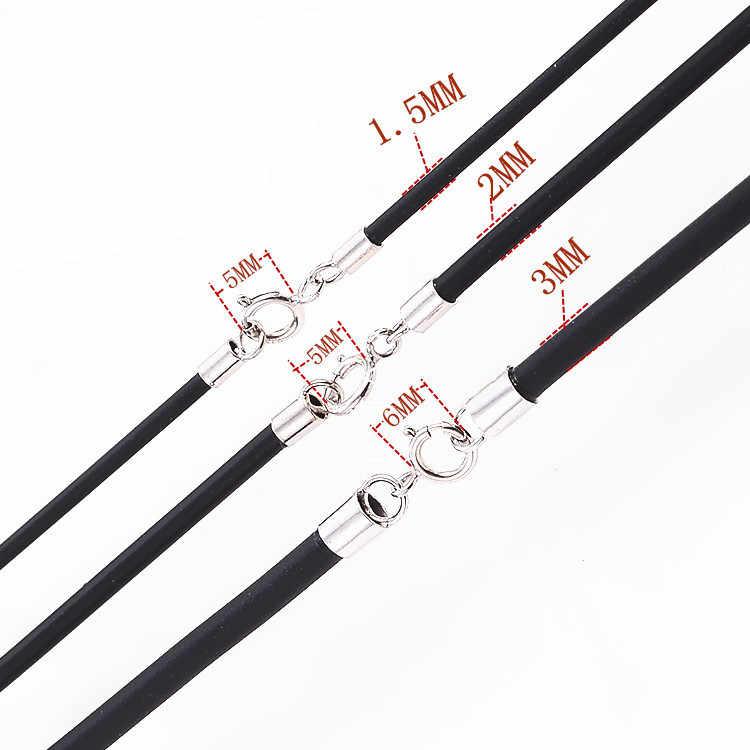Универсальная Прочная резиновая кожа шнур ожерелье с настоящим 925 коннекторы из стерлингового серебра и застежки для мужчин женщин цепи веревка нить