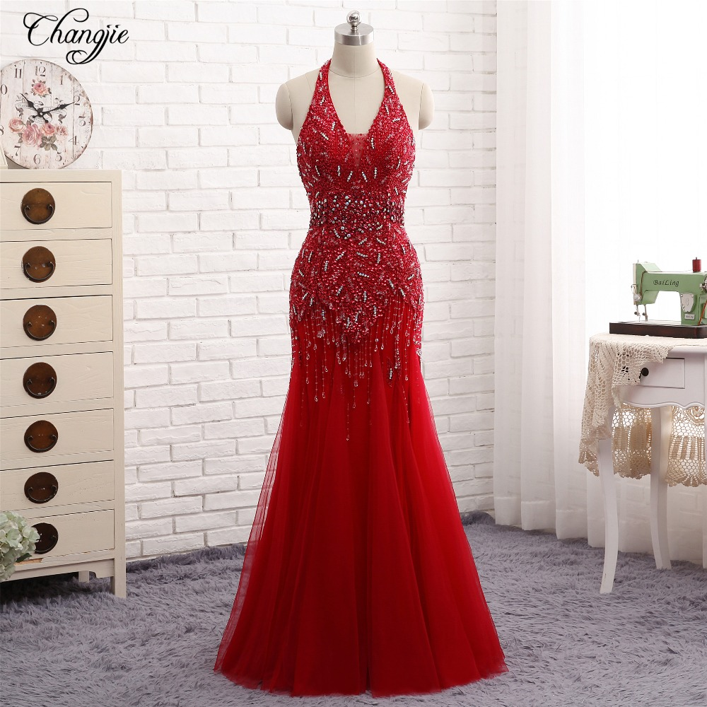 New Mermaid Long Prom Dresses 2018 Halter Neck Sleeveless Floor Length Beading Tulle Evening Dresses vestido