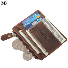 MS Anti-magnet Men Crazy Horse Leather Zipper Coin Wallet Casual Credit Card ID Holder With Strong Magnet Money Clip Brown K145 gubintu men mini leather credit card id coin holder money clip wallet des23 drop shipping wholesale 17mar30