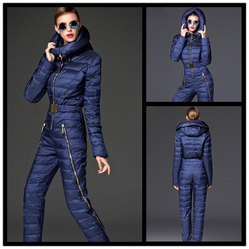 506040d8447 Mountain Skiing Suit Women Winter Windproof Breathable Ski Jumpsuit Hooded  Tracksuit Super Warm Slim Women Duck Down Jackets -in Skiing Jackets from  Sports ...