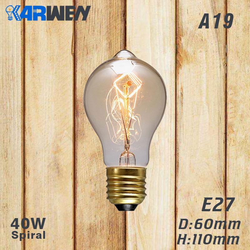 Эдисон лампы E27 40 Вт накаливания подвесной светильник в стиле ретро 220V ST64 A19 T45 T10 G80 G95 ампулы Винтаж лампа Эдисона лампа накаливания светильник лампочка - Цвет: A19 spirai