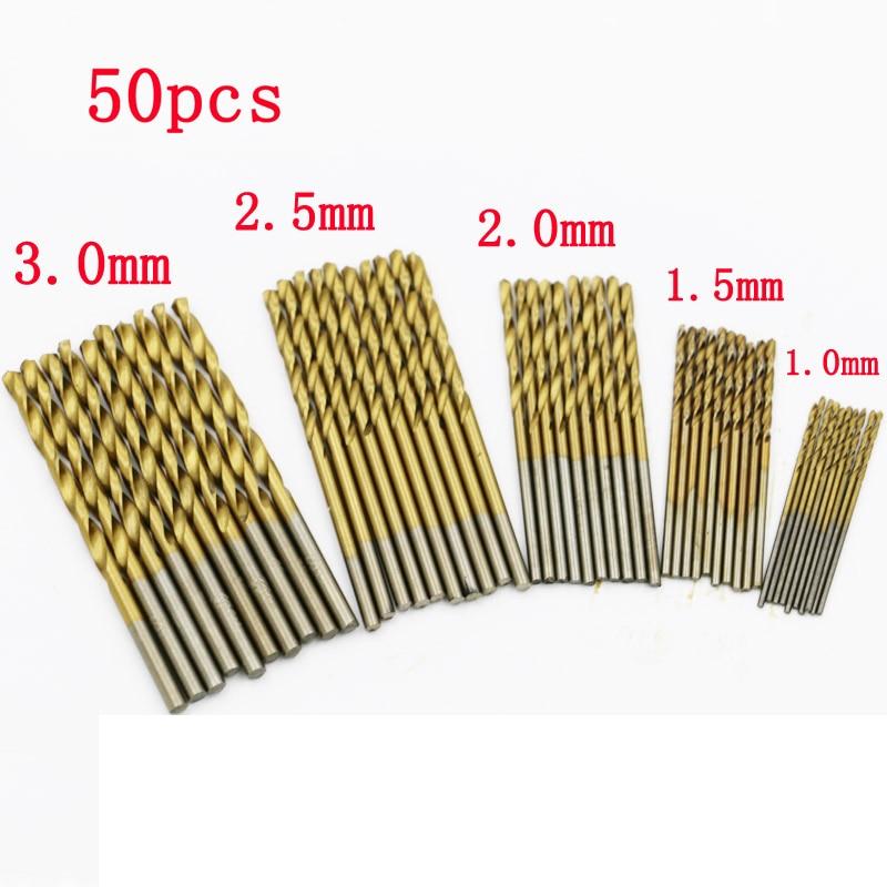 Punta elicoidale in acciaio ad alta velocità da 50 pezzi codolo cilindrico 1mm / 1.5mm / 2mm / 2.5mm / 3mm ogni 10 pezzi per metallo