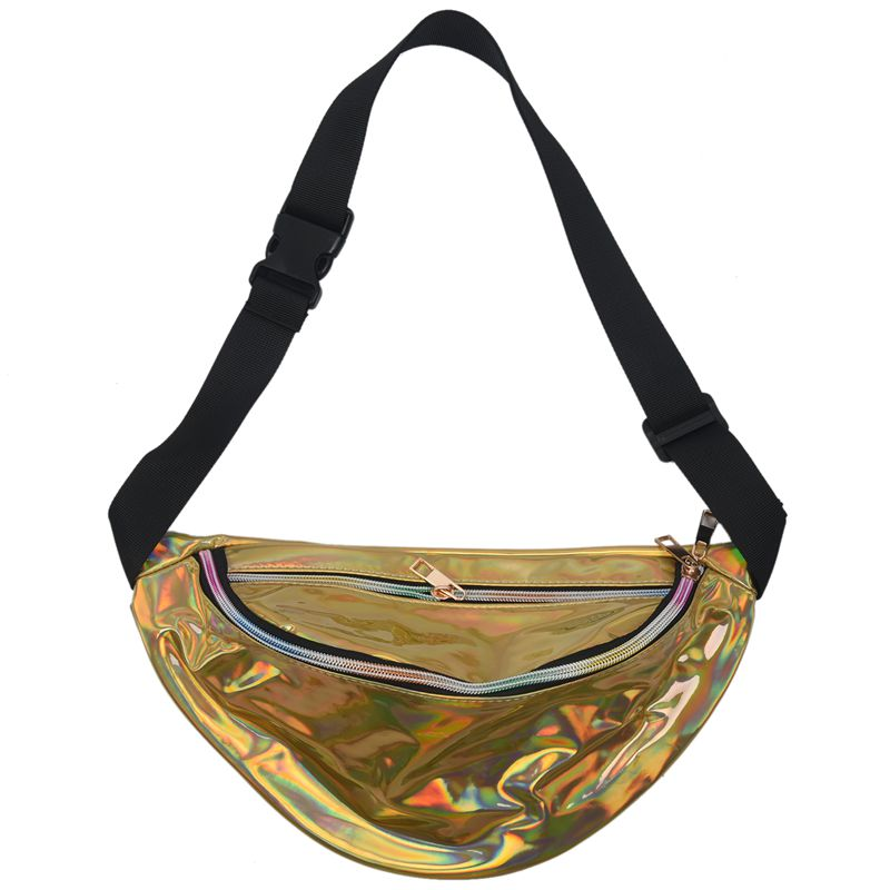 Fashion PU Fanny Pack Laser Purse Reflective Translucent Waist Chest Bag