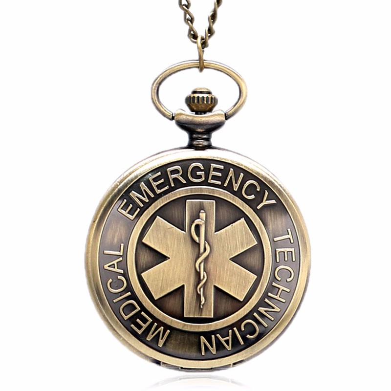 The Symbol Of Medical Emergency Technician Fob Clock The Star Of Life Quartz Pocket Watch With Necklace Gift For Pocket Watch