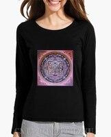 Winter Limited Long Sleeve Womens Mandala O Neck Print Cotton Anime Women Brand T Shirt