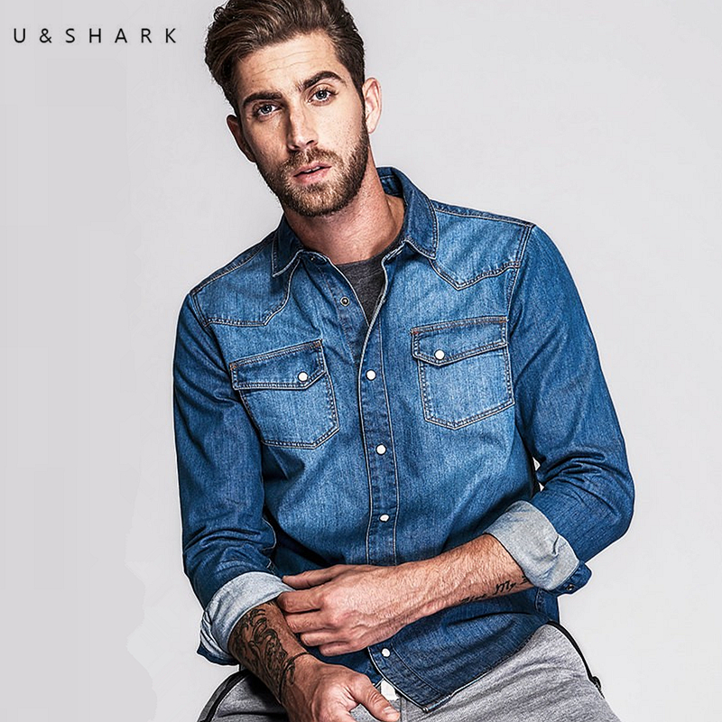 U Shark Brand Style Light Blue Jeans Collar Shirt Men Casual Cotton Chemise 2016 Autumn Fashion