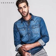 U & Shark Marke Stil Hellblauen Jeans Kragen-shirt Männer Casual Baumwolle Chemise 2016 Herbst Fashion Long Sleeve Denim hemd Männlich