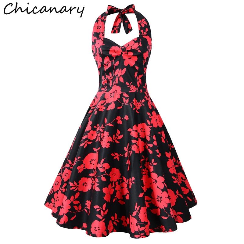 Chicanary Floral Cherry Print Women Halter Vintage Dress 1950s Rockabilly Retro Full Dresses Plus Size