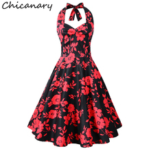 Chicanary Floral Cherry Print Women Halter Vintage Dress 1950s Rockabilly Retro Full Dresses Plus Size