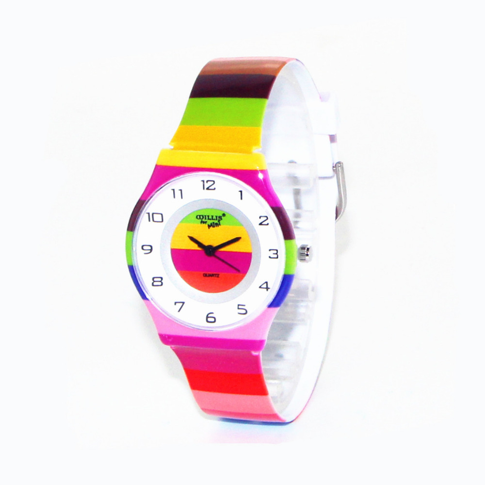 2018 Latest Styles Ultra Thin Colorful Striped Design Women Waterproof Round Dial Wristwatch Girls Sports Quartz Watches latest styles autumn