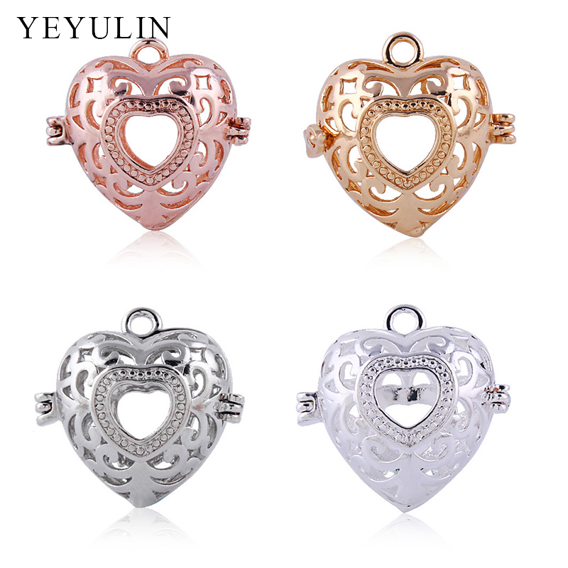 Trendy Hollow out Love Heart shaped Essential Oil Diffuser Perfume Locket Pendant For Making Jewelry DIY
