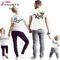 Jahurto Familia Rey Reina Camisa Princesa Príncipe Crown Impreso Ropa Del Padre-Niño de Manga Corta Sólido O Cuello Camisas Casuales