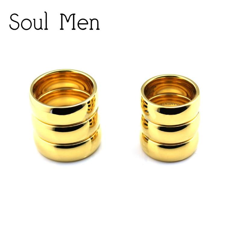 (6 Teile/los) Großhandel Gold Farbe Ringe Hartmetall Schmuck Für Männer Frauen Hochzeit Band Neue Allianz Tu003rw