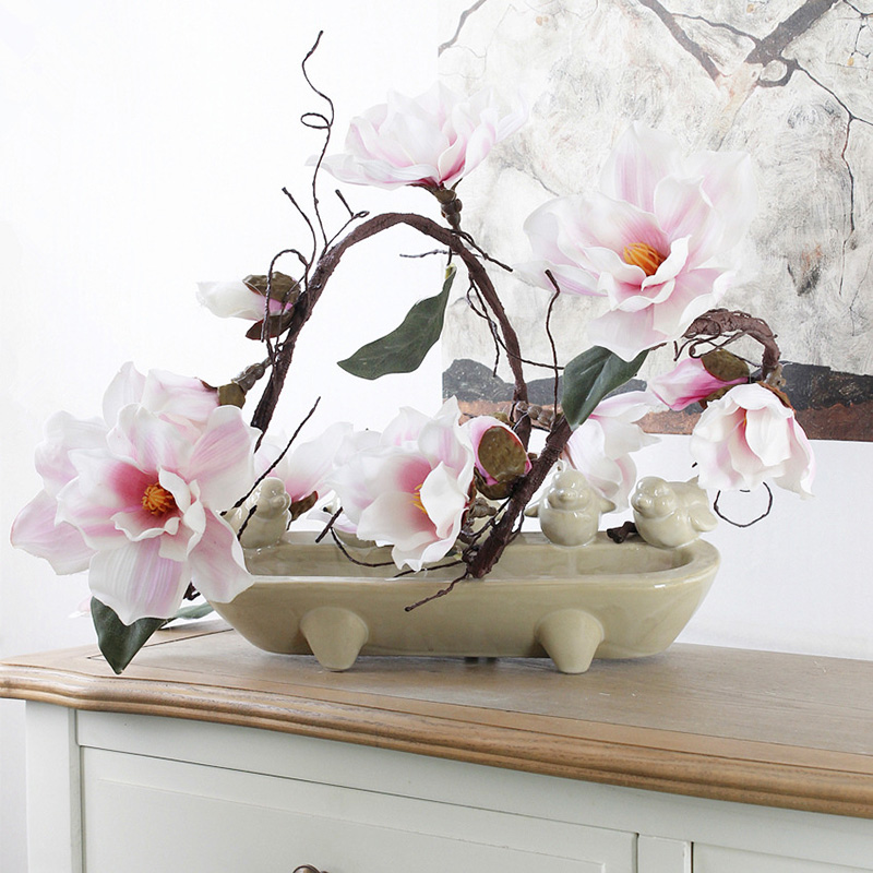 Artificial Magnolia Silk Fake <font><b>Flower</b></font> Branch Fleur Artificielle Flores Arrange Table Wedding Home Decor Party accessory DF615