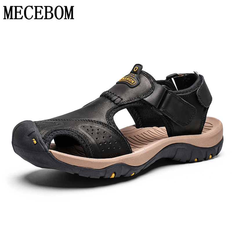 Summer Sandals Men Genuine Leather Casual Shoes Man Roman Style Beach Sandals Slippers size 39-46 sandalias hombre 2019 7238m(China)