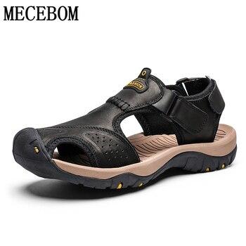 Sandalias de verano hombres zapatos casuales de cuero genuino hombre estilo romano sandalias de playa zapatillas de tamaño 39-46 sandalias hombre 2019 7238m