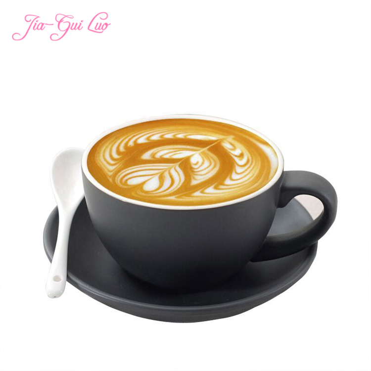 Jia-gui luo 220ml high-grade ceramic coffee cups Coffee cup set Simple European style Cappuccino flower cups Latte