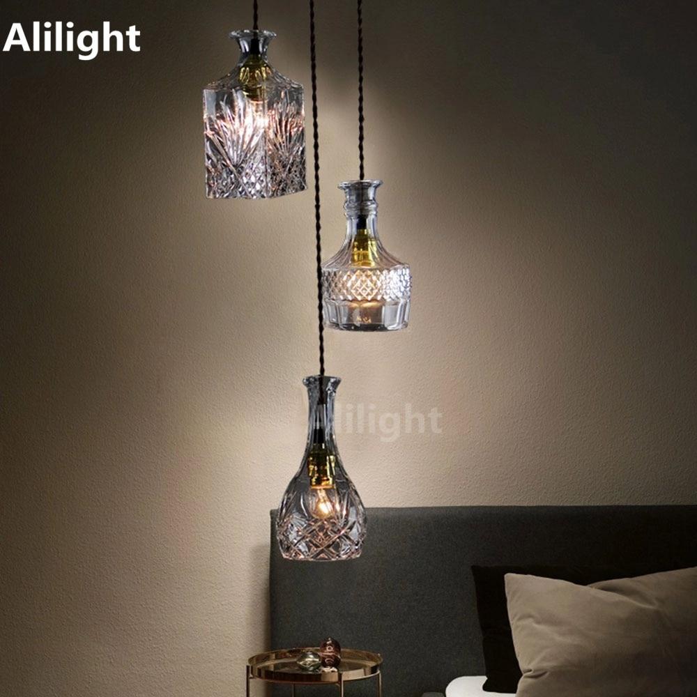 Modern Bottle Pendant Lights Glass Wine Bottle Pendant Lamp For Bar Cafe Store Decor Hanging