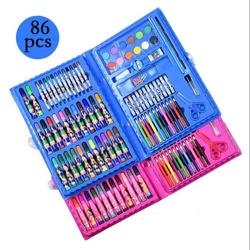 86 pieces of children cartoon watercolor painting large suit gift box crayons watercolor pen color pencil painting tools party children of rhatlan