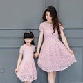 wholesale summer 2017 pink lace dress mother daughter dresses family look mommy and me fashion women dresses for girls sundress